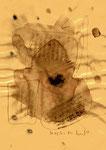 """Serie von 10 Arbeiten - 7 v. 10 - """"Versuche in Bergisch-Gladbach"""" 30.03.1994, Werkverzeichnis 405, Asche, Wein und Bleistift auf Papier, b 21,0 cm * h 29,0 cm"""
