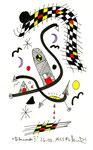 """""""Lilamonde II"""", WVZ 511, vom 26.03.1995, Textilfarbe und Filzstift auf gerissenem Bütten. Größe jeweils b 10,0 cm * h 16,0 cm"""