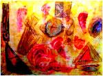 """""""Diffuses"""" Gestringen, im Jahre 1990, Werkverzeichnis 125, Ölkreide auf Pappe , b 40,0 cm x h 30,0 cm."""