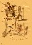 """Serie von 10 Arbeiten - 9 v. 10 - """"Versuche in Bergisch-Gladbach"""" 30.03.1994, Werkverzeichnis 407, Asche, Wein, Rötel und Bleistift auf Papier, b 21,0 cm * h 29,0 cm"""