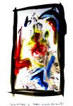 """""""Grenzen der Freiheit"""" 8 Werkverzeichnis 1.917 / datiert Boddin, 13.02.99 / diverse Farben auf weißem Papier / Maße b 29,7 cm * h 42,0 cm"""