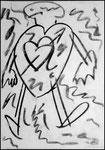 """""""o. T. (4)"""" Blieskastel, den 11.03.1987, Werkverzeichnis 65, Kohle auf Papier, b 30,0 cm x h 42,0 cm"""
