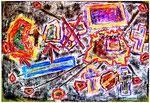 """""""Deutschland einig Vaterland"""" Gestringen, 11.02.1990, Werkverzeichnis 127 Diverse Farb- und Klebetechnik auf hellgrüner Pappe, b 70,0 cm x h 50,0 cm"""
