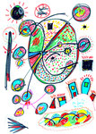 """""""o. T."""" Gestringen, den 26.02.1993, Werkverzeichnis 340, farbige Filzstifte auf Papier b 21,0 cm * b 30,3 cm"""