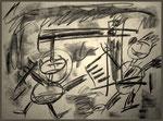 """""""o. T. (7)"""" Blieskastel, den 11.03.1987, Werkverzeichnis 68, Kohle auf Papier, b 40,0 cm x h 30,0 cm"""