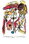"""""""Vier Vögel gegen den Himmel"""" - Gorazde - Werkverzeichnis 531. Datiert Bad Bevensen, 09.04.95. Filzstift, Textilfarbe und Aquarell auf Papier. Größe b 20,0 cm * h 29,5 cm."""