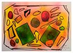 """Copy-Art - Serie von 6 Arbeiten: """"Peter Aumann / Ramon Rose über 50 Jahre Unterschied als Mitglieder des Rates der Stadt Espelkamp"""" 4 von 6 10.1994, Werkverzeichnis 429, kopierte Collage aus Bildern und Zeitungsausschnitten mit Sprühlack bearbeitet"""