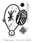 """I """"Black + Withe"""", Werkverzeichnis 505, vom 24.03.1995, Textilfarbe schwarz auf Papier, Größe b 11,0 cm * h 15,0 cm."""