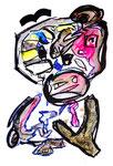 """Menschen"" I / WVZ 915 / datiert 02.01.96 / Filzstift, Kreiden und Aquarellfarben auf Papier / b 30,0 cm * h 40,0 cm"