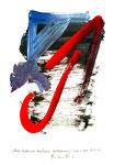 """""""Rote Methode bei linker Verbleuung"""" / Werkverzeichnis 3.293 / datiert Wiesmoor, 14.12.00 / diverse Farben und Tusche auf Papier / Maße b 29,7 cm * h 42,0 cm"""