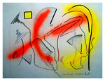 """Serie von drei Arbeiten - 1 v. 3 - """"Gelbes Quadrat"""" 15.05.1994, Werkverzeichnis 414, Graphit, Kohle und Sprühfarbe auf Papier, b 40,0 cm * h 30,0 cm"""