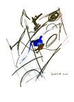 """""""o. T."""" 9, WVZ 961 / datiert 21.03.1996 / Kreide, Filzstift, Tinte, Bleistift und Loch auf / im Papier / b 30,0 cm * 40,0 cm"""