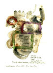 """Kreatur reduziert Risiko"" / Werkverzeichnis 2.049, datiert Espelkamp, 19.05.1999, Zigarre, Asche, Filzstift, Aquarell und Text auf Papier, Maße b 21,0 cm * h 29,7 cm"