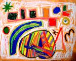 """""""Saunabild mit Schweiß und Kreide"""" 1995 Werkverzeichnis 453 Farbkomposition aus diversen Kreiden und Schweiß auf Holzplatte - entstanden in meiner Sauna in Gestringen bei 90 ° Celsius. b 65,5 cm * h 52,0 cm"""