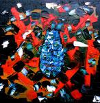 """""""Im Spinnennetz"""" Gestringen, den 28.05.1987, Werkverzeichnis 80, Ölfarbe und Acryl auf Holzrollbrett, b 30,0 cm x h 29,5 cm"""