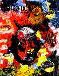 """""""Niemals"""" Gestringen, im Jahre 1988, Werkverzeichnis 93, Acryl- und Ölfarbe auf Leinwand auf Pappe, b 39,0 cm x h 50,0 cm"""
