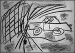 """""""o. T. (6)"""" Blieskastel, den 11.03.1987, Werkverzeichnis 67, Kohle auf Papier, b 42,0 cm x h 30,0 cm"""