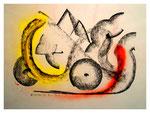 """Serie von drei Arbeiten - 2 v. 3 - """"o. T."""" 15.05.1994, Werkverzeichnis 415, Graphit, Kohle und Sprühfarbe auf Papier, b 40,0 cm * h 30,0 cm"""