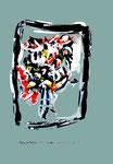 """""""Grenzen der Freiheit!"""" 11 Werkverzeichnis 1.920 / datiert Boddin, 13.02.99 / diverse Farben auf hellblauem Papier / Maße b 29,7 cm * h 42,0 cm"""