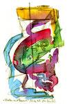 """""""Malen mit Lassi 5"""" / Werkverzeichnis 1.285 / datiert 10.02.97 / Filzstift und Aquarell auf Papier / Maße b 12,0 cm * h 18,0 cm"""