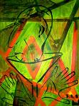 """""""Franco"""" Gestringen, 3.1.1987, Werkverzeichnis Nachträge, Ölfarben auf Leinwand, b 40,0 cm x h 50,0 cm, verkauft an Uta und Peter, Kreuzbruchhof 17, 17094 Burg-Stargard"""