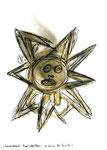 """""""Sonnenbrand"""" / WVZ 3.340 / datiert 11.07.01 / Bleistift, Asche, Zigarre, Filzstift auf Papier / Maße b 21 cm * h 29,7 cm"""