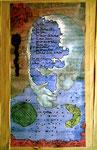 """""""Das Leben"""" Werkverzeichnis 3.579, 3.580, datiert 27.04.2002 Fotoveränderung (Stephan Krawczyk), Druck, Zeichnungen, Papierklebestreifen, Text, Filzstift, Aquarell auf Papier Maße max. b 40,0 cm * h 50,0 cm"""