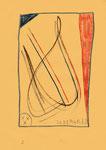 """Serie von 10 Arbeiten - 3 v. 10 - """"Versuche in Bergisch-Gladbach"""" 30.03.1994, Werkverzeichnis 401, diverse Farben und Bleistift auf Papier, b 21,0 cm * h 29,0 cm"""