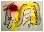 """Serie von drei Arbeiten - 3 v. 3 - """"Schwarz"""" 15.05.1994, Werkverzeichnis 416, Graphit, Kohle und Sprühfarbe auf Papier, b 40,0 cm * h 30,0 cm"""