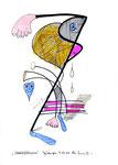 """""""Streetfightingman"""" / WVZ 2.808 / G., 07.10.00 / Tusche, Filz-, Bleistift a. Papier / b 21,0 cm * h 29,7 cm"""