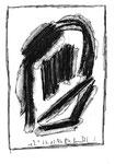 """2 """"o. T."""" WVZ Nachträge / datiert 23.12.1996 / Kohle und Textilfarben auf Papier / b 11,0 cm * 18,0 cm"""