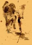 """Serie von 10 Arbeiten - 10 v. 10 - """"Versuche in Bergisch-Gladbach"""" 30.03.1994, Werkverzeichnis 408, Asche, Wein, Rötel und Bleistift auf Papier, b 21,0 cm * h 29,0 cm"""