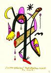 """""""Trichtergedanken"""" 3 / WVZ 2.012 / datiert Bad Sobernheim, 29.03.99 / Farbzeichnung mit Textilfarbe auf Papier / Maße b 10,0 cm * h 15,0 cm"""