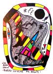 """""""Landschaftern"""" - Antlitz - Datiert 26.12.1993 Werkverzeichnis 376 Textilfarbe auf Aquarellpapier b 10,5 cm * h 15,0 cm"""