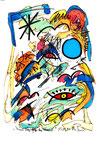 """""""Fünf Vögel gegen den Himmel"""" - Mostar - Werkverzeichnis 532. Datiert Bad Bevensen, 09.04.95. Filzstift, Textilfarbe und Aquarell auf Papier. Größe b 20,0 cm * h 29,5 cm."""