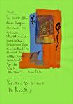 """""""Heute"""" / Torrox, 30.10.2008 / """"Sprechbild"""" mit vorstehendem Text als Original Grafik mit Ölkreide, Tusche, Aquarellfarben und Text auf Papier / B 21,0 cm * H 29,7 cm / Werkverzeichnis 3.808"""