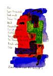 """""""Begegnung"""" / Torrox, 13.11.2008 / """"Sprechbild"""" mit Text als Original Grafik mit Aquarellfarben, Ölkreide, Bleistift und Text auf Papier / B 21,0 cm * H 29,7 cm / Werkverzeichnis 3.810"""