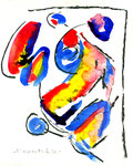 """3 """"o. T."""" WVZ 1.040 / datiert 12.10.1996 / Filzstift, Bleistift, Kohle und Farben auf Papier / b 18,0 cm * 24,0 cm"""