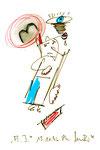 """""""A.I. 4"""", WVZ 1.125 / datiert 11.12.1996 / Filzstiftzeichnung mit Textilfarbe und Kohle auf Bütten / Größe b 10,0 cm * 16,0 cm"""