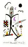 """""""Lilamonde IV"""", WVZ 513, vom 26.03.1995, Textilfarbe und Filzstift auf gerissenem Bütten. Größe jeweils b 10,0 cm * h 16,0 cm"""