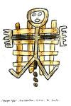 """""""Gefangenes Gitter"""" / WVZ 3.346 / datiert 12.07.01 / Bleistift, Asche, Zigarre, Filzstift auf Papier, Maße b 21 cm * h 29,7 cm"""