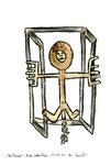 """""""Am Fenster""""/  WVZ 3.343 / datiert 12.07.01 / Bleistift, Asche, Zigarre, Filzstift auf Papier / Maße b 21 cm * h 29,7 cm"""