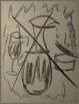 """""""o. T. (13)"""" Blieskastel, den 11.03.1987, Werkverzeichnis 74, Kohle auf Papier, b 30,0 cm x h 40,0 cm"""