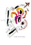 """""""Entrückt"""" WVZ 949 / datiert 02.03.1996 / Filzstift, Bleistift, Aquarell und Kohle auf Papier / b 30,0 cm * 40,0 cm"""