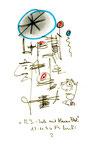 """""""A.I. - Seele mit blauem Fleck"""" 2 WVZ 1.142, datiert 15.11.96 Bleistift, Textilfarbe und Kohle auf Bütten Maße b 10,0 cm * 16,0 cm"""