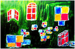 """""""Treppe vorm Haus"""" Gestringen, im Oktober 1990, Werkverzeichnis 130, Aquarell auf Papier, b 48,0 cm x h 32,0 cm"""