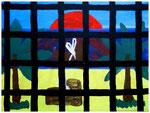 """""""In die Freiheit sehen"""" Gestringen, den 09.04.87 Nachträge-Werkverzeichnis Wasserfarben und Acryl auf Papier b 40,0 cm x h 30,0 cm"""