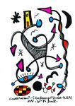 """""""Landschaftern"""" - Silvesterei mit Krake - 31.12.1993, Werkverzeichnis 391, Textilfarbe auf Papier, b 10,0 cm * h 15,0 cm"""