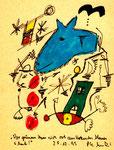 """""""Vor grünem Haus sich auskotzendes blaues Schaf"""" 25.12.1995, Werkverzeichnis 883, Filzstift und Textilfarbe auf Papier, Größe b 12,0 cm * h 16,0 cm."""