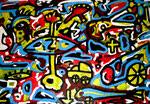"""o. T."" Gestringen, 08.92, Werkverzeichnis 299, Öl u. Acryl auf Sperrholz, b 90,0 cm x h 60,0 cm"
